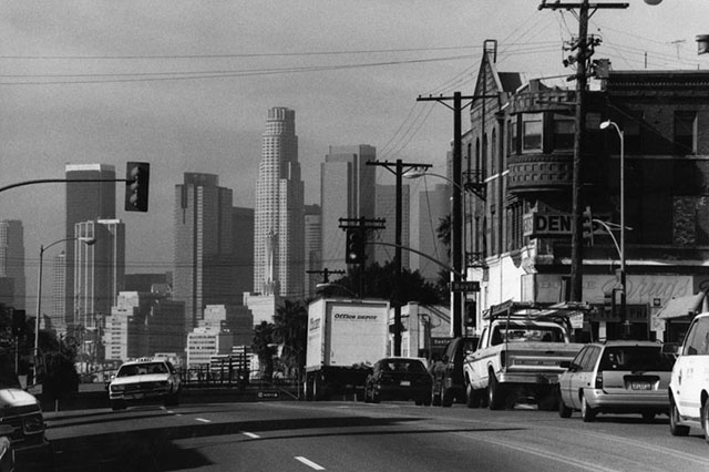 Looking east from the intersection of Boyle Avenue and 1st Street with downtown in the distance, circa 1998. (Photo courtesy of the Los Angeles Public Library Photo Collection)