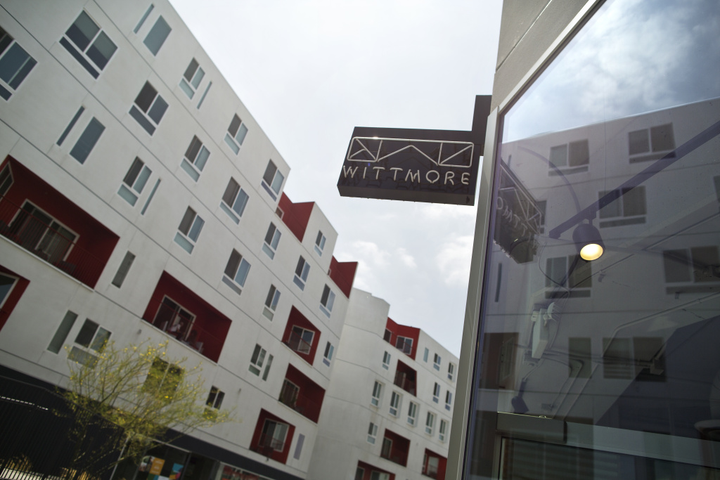 The One Santa Fe complex in the Arts District includes affordable housing. MAYA SUGARMAN/KPCC
