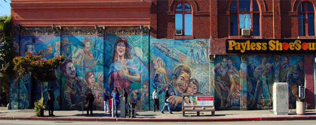 """Corrido de Boyle Heights"" mural by David Botello, Wayne Healy and George Yepes (1984). (Photo by Lisa Newton via the LAist Featured Photos pool on Flickr)"