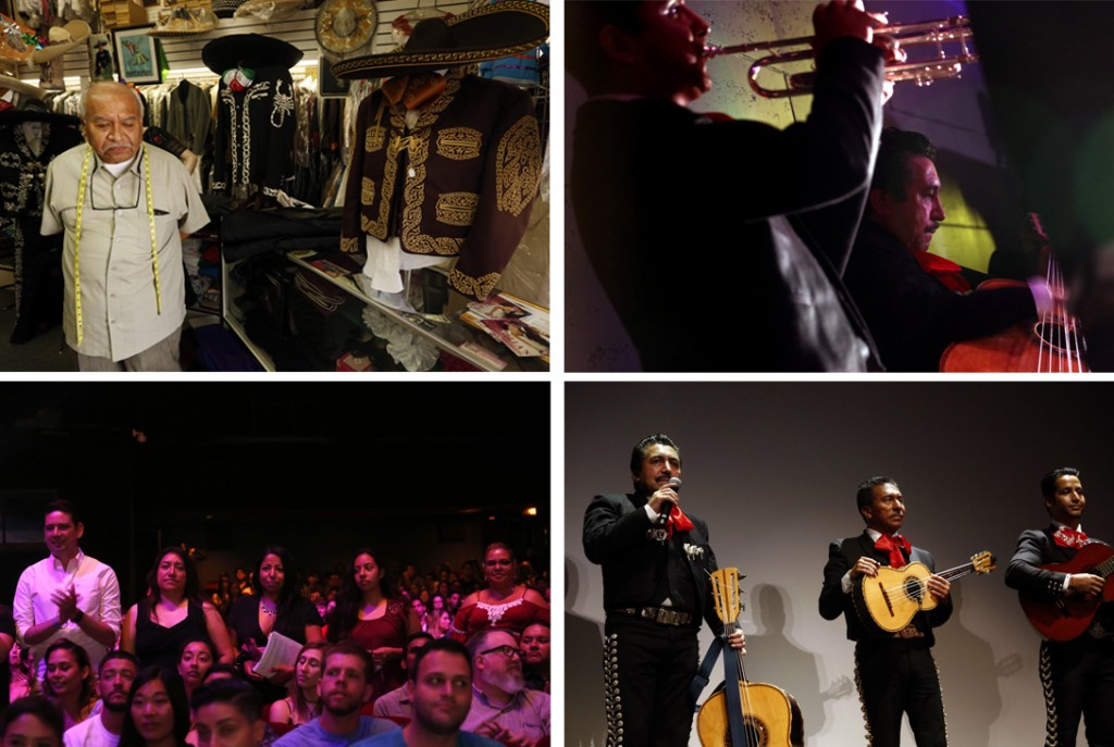 "Clockwise from top left: ""I don't think our culture is going to fade away,"" said Jorge Tello, who has been the tailor to mariachi clientele for the last 33 years on First Street in the Boyle Heights. Mariachi Luis Valdivia, right, performs during the Sundance Nextfest screening of ""Gente-fied"" at the Ace Hotel in Los Angeles. Mariachi performers Luis Valdivia, left, tells an audience that his rent was raised 80% at his apartment complex after a performance at the Ace Hotel. Tenants who are facing eviction from an apartment complex in the Boyle Heights are asked to stand during the Sundance Nextfest screening of ""Gente-fied."" (Genaro Molina / Los Angeles Times)"
