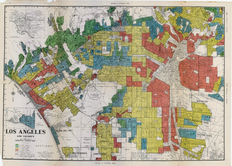 A 1939 red-lined map of L.A. from the HOLC, a government agency created after the Great Depression. Maps like these were used to deny home financing to non-whites.