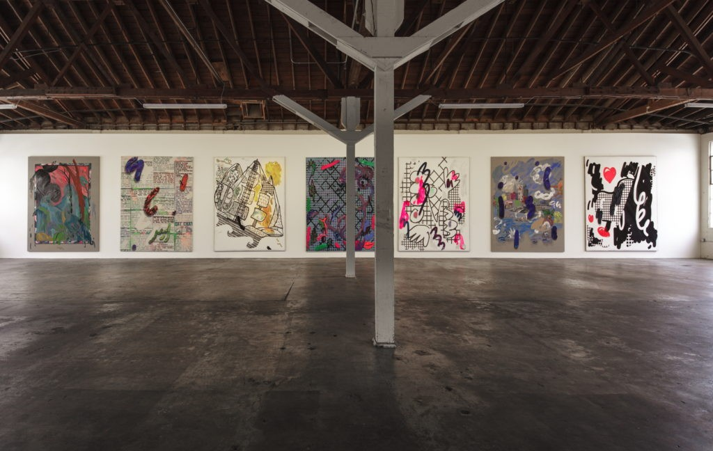 "Installation view of ""12 Paintings by Laura Owens and Ooga Booga #2,"" 2013, at 356 Mission, Los Angeles. COURTESY THE ARTIST AND 356 MISSION"